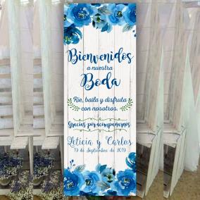 Banner floral azul