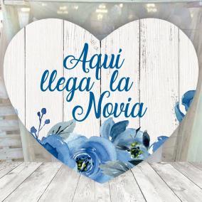 Cartel Corazon Floral Azul