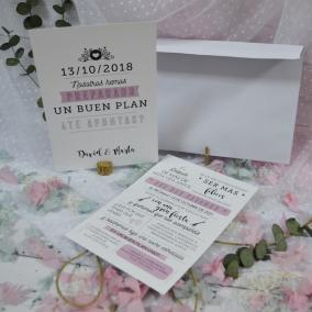 Invitación Moderna Rosa