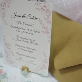Tarjeta Boda Tonos Rosa Elegante