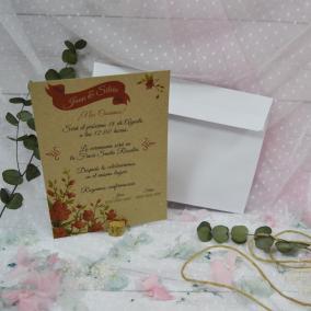 Invitación Kraft Floral Rojo