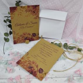 Invitación Kraft Floral Rosa