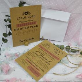 Invitación Kraft Moderna Rosa