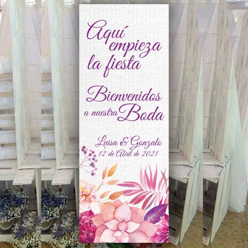 Cartel Floral Rosa