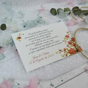 Tarjeta de Agradecimiento Floral Roja