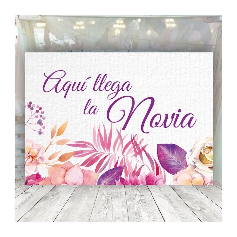 Cartel floral rosa Aquí llega la Novia