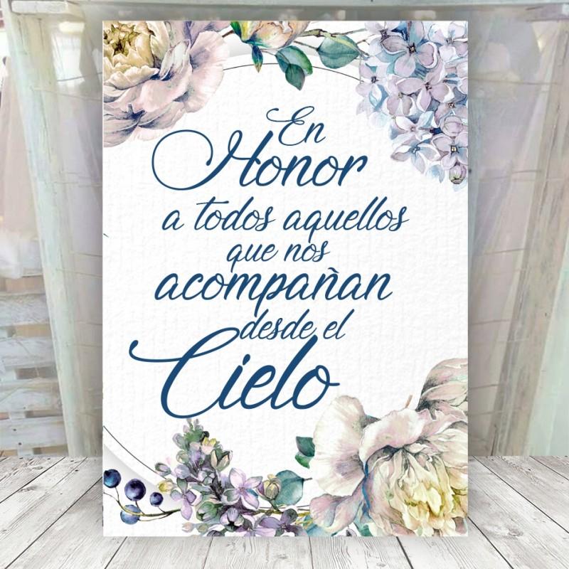 Cartel para recordar a los que están en el cielo