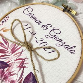 Porta Alianzas Personalizado Floral Rosa