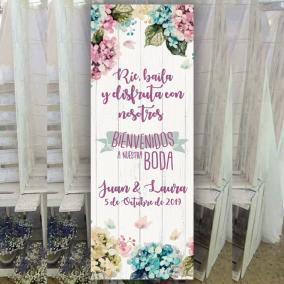 Banner bienvenida flores rosas