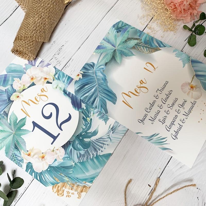 Mesero Floral Azul