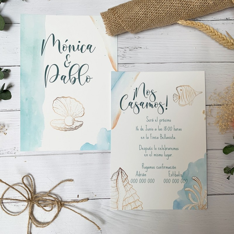 invitacion de boda marina