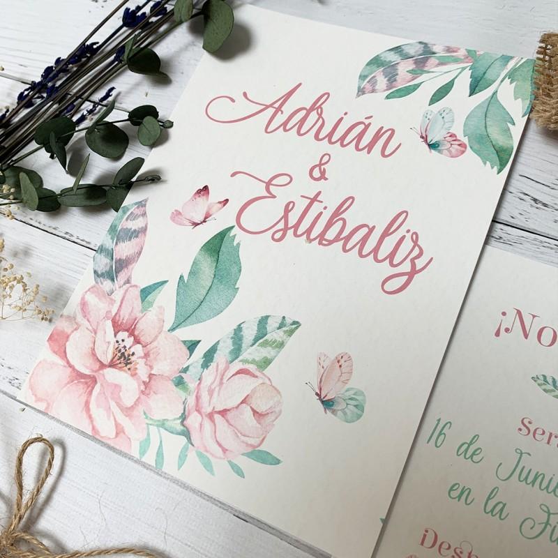 invitacion de boda mariposas