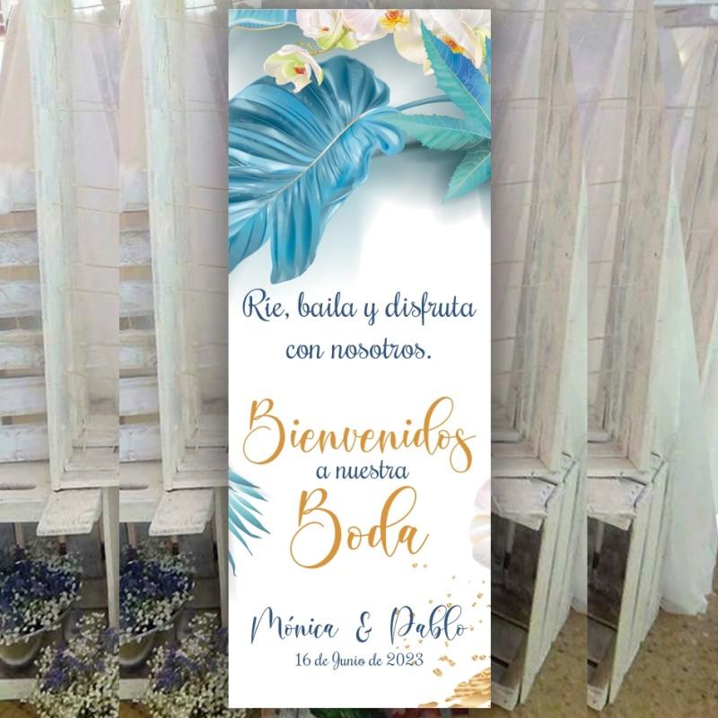 banner para boda tropical