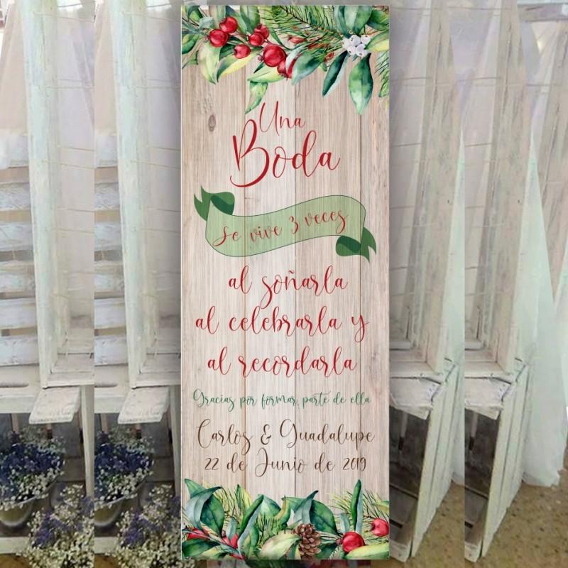 cartel para boda navideña