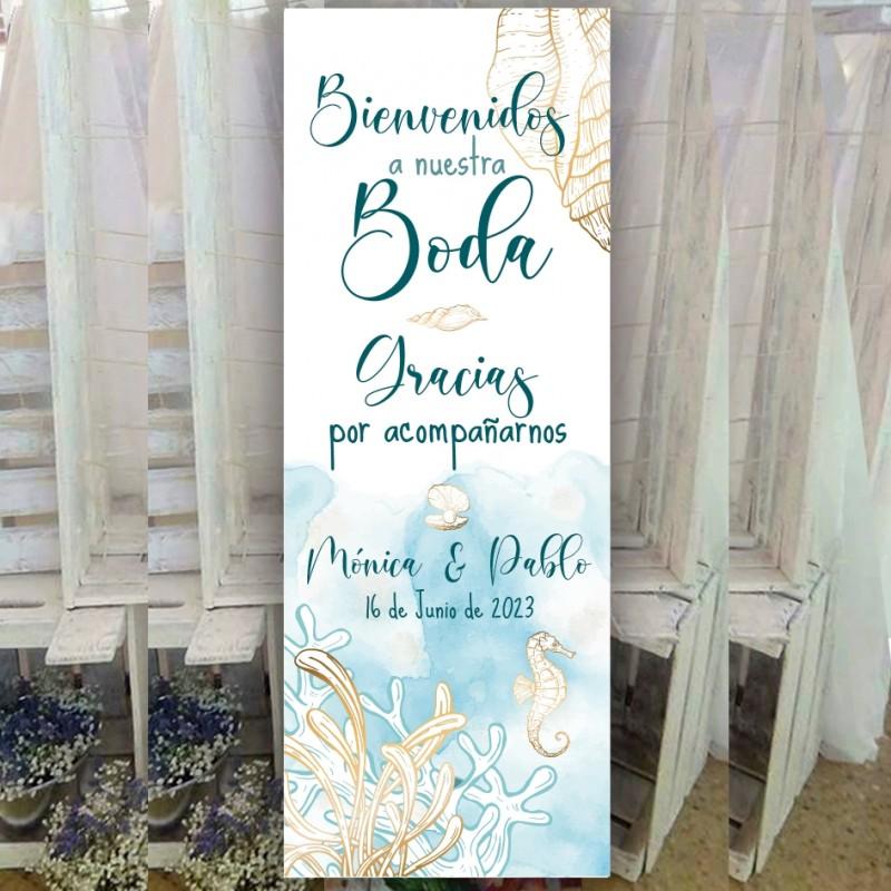 Cartel bienvenida boda marina