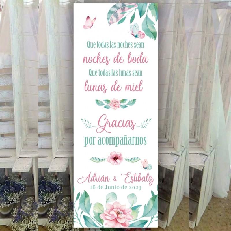 Cartel bienvenida boda romantico