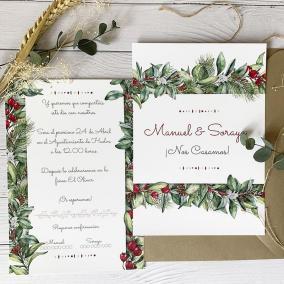 invitaciones de boda navideñas
