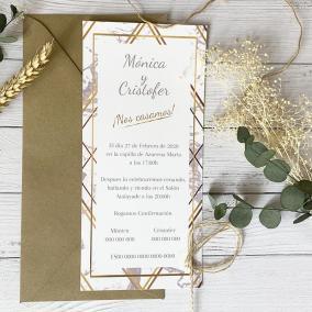 Invitación de boda marmoleada