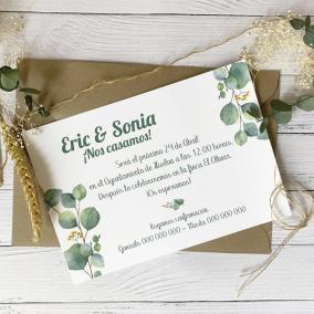 Invitacion de boda eucalipto