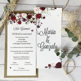 Invitación de boda flores rojas