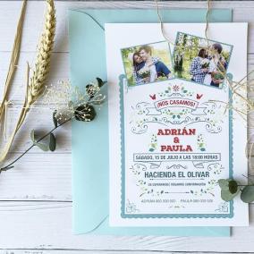 Invitación de boda moderna con foto