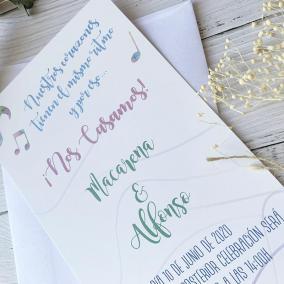 invitacion de boda musical