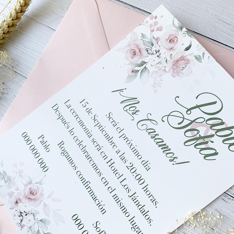 invitacion de boda romantica