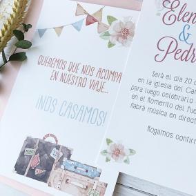 invitacion de boda tematica viaje