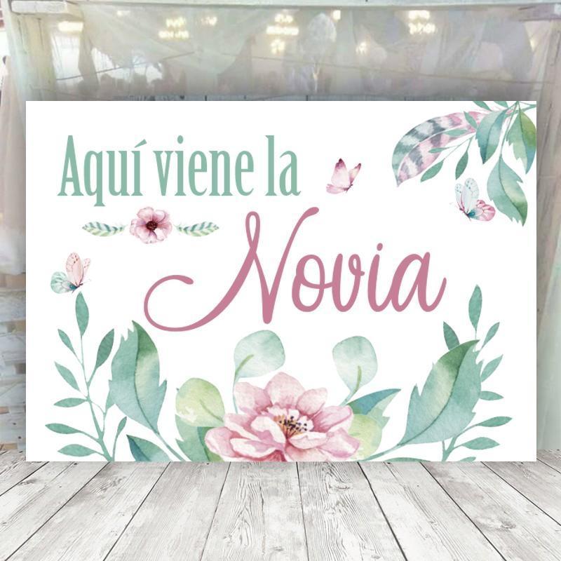 Cartel romantico aqui viene la novia