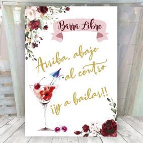 Cartel barra libre flores rojas