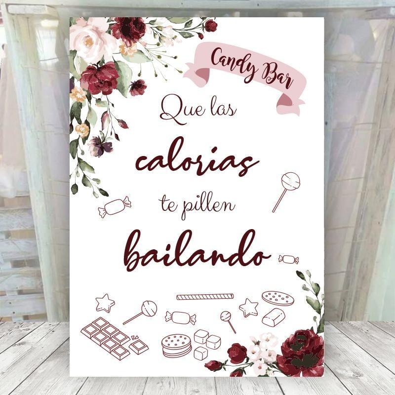 Cartel Calorias flores rojas
