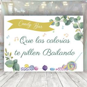 Cartel Boda Eucalipto Candy Bar