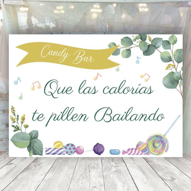 Cartel Boda Eucalipto Candy Bar