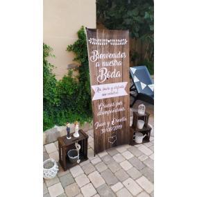 cartel boda madera barato