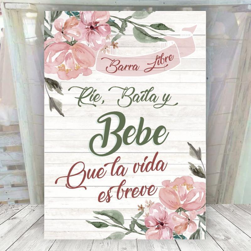 Cartel Floral Barra Libre