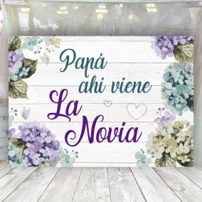 Cartel para arras Flores Moradas