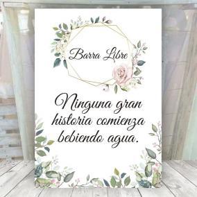 Cartel Barra Libre Elegante Rosa