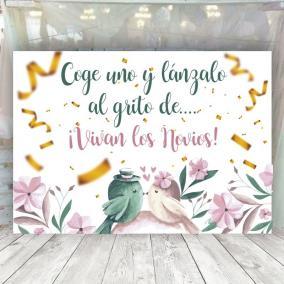 Cartel Pájaros Confeti
