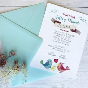 Invitación Boda Familia Pájaros