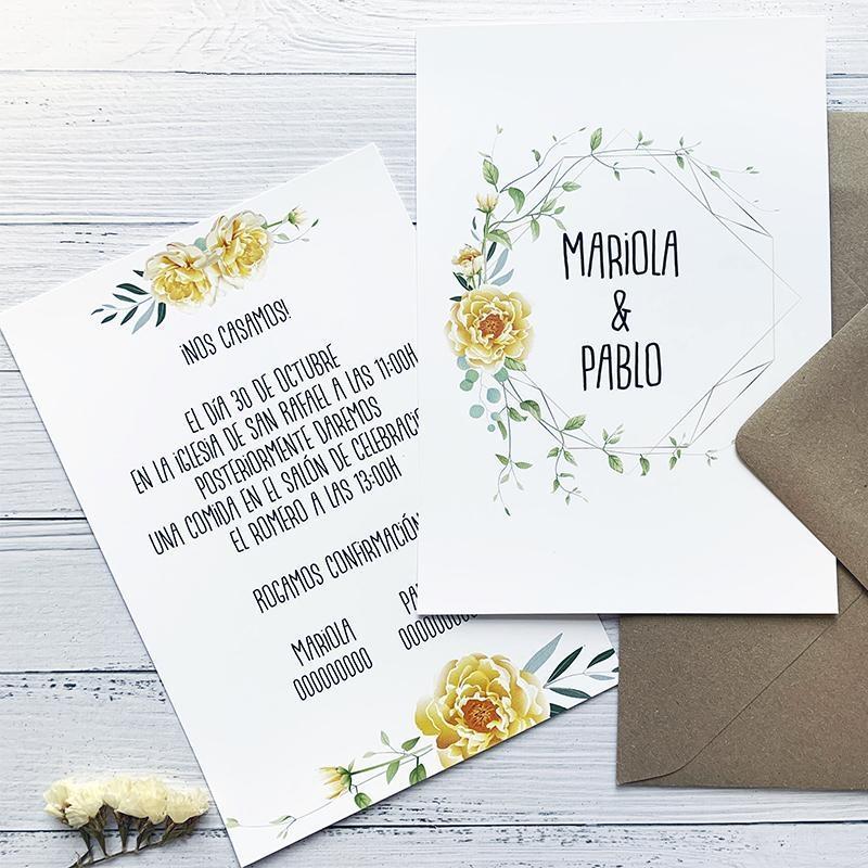 Invitación Floral Amarilla