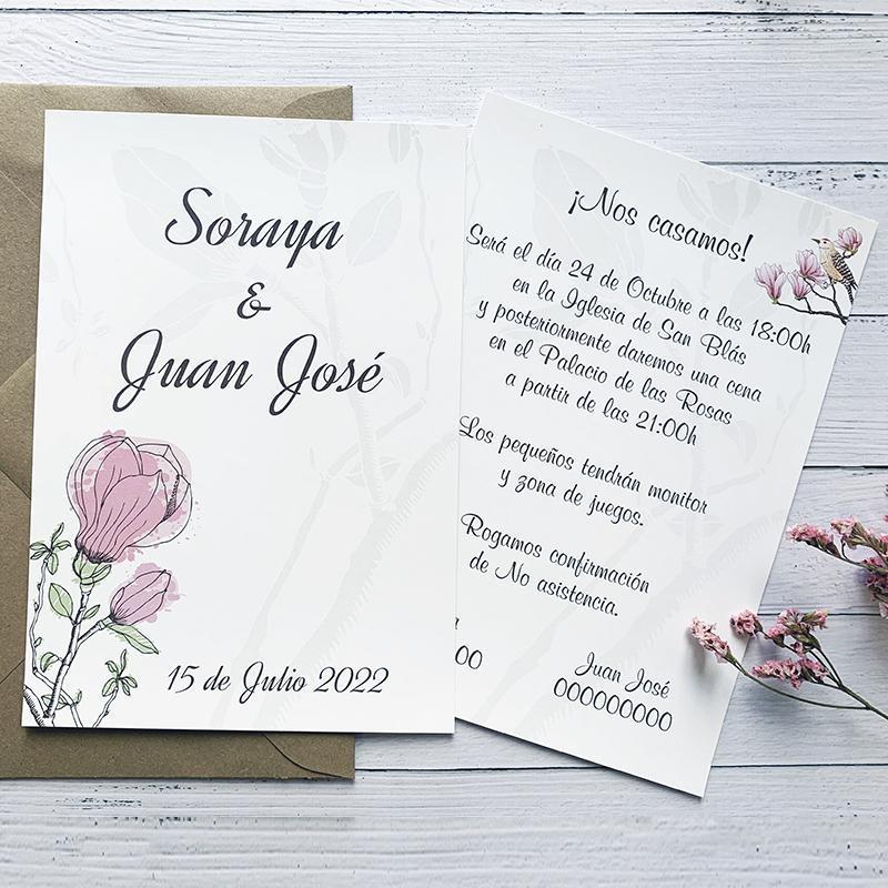 Invitación Boda Flor Algodón