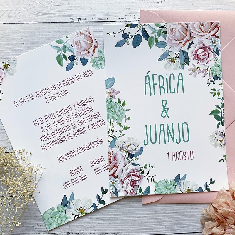 Invitación Boda Hortensia Verde
