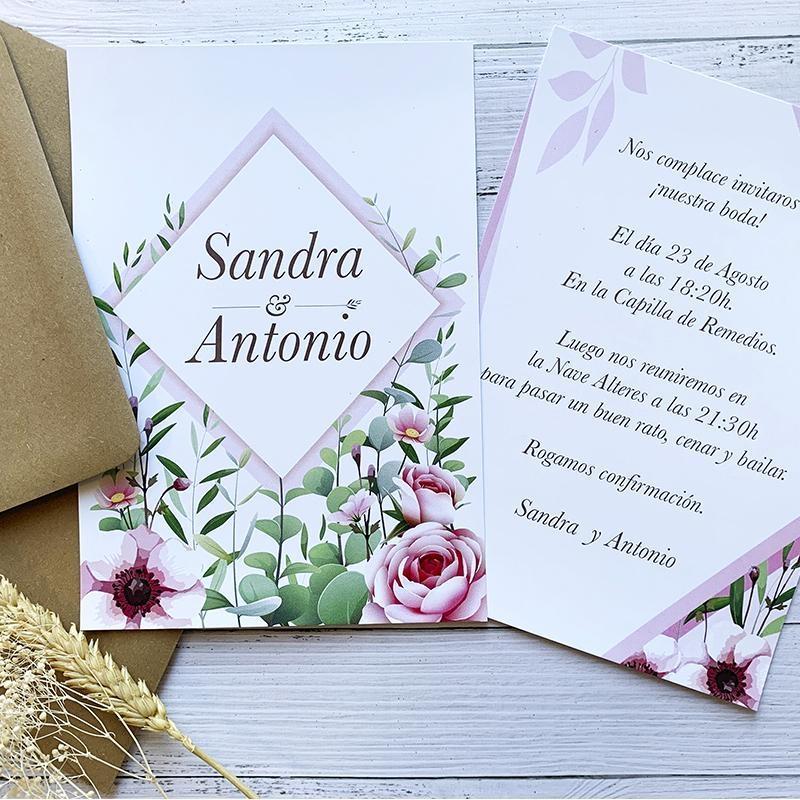 Invitación Boda Flores Moderna