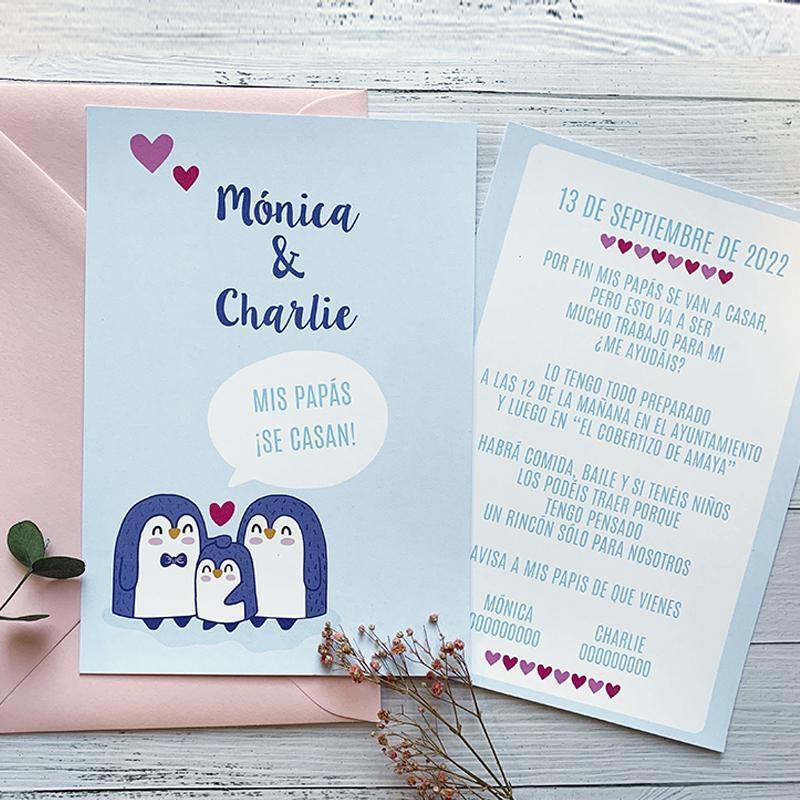 Invitación Boda Familia Pingüinos