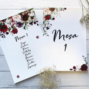 Mesero Flores Rojas