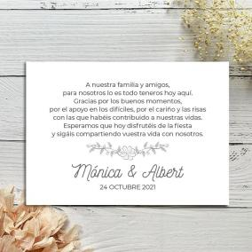 Tarjeta Agradecimiento Flores minimalistas