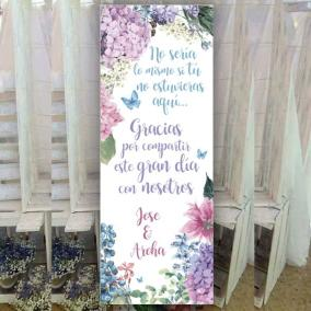Cartel Bienvenida Hortensias