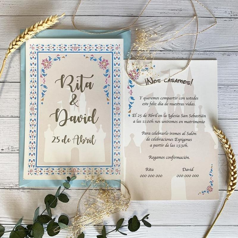 Invitación de boda Disney Castillo
