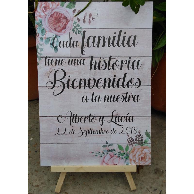 Cartel con soporte para bodas for Que poner en los banos de una boda