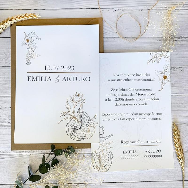 Invitación Boda Marina Elegante